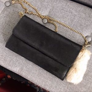 ✨Italian Leather Clutch with gold chain + Real fur